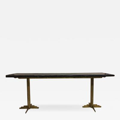 Paul Kiss Two French Mid Century Modern Gilt Iron Consoles or Dining Tables 1925