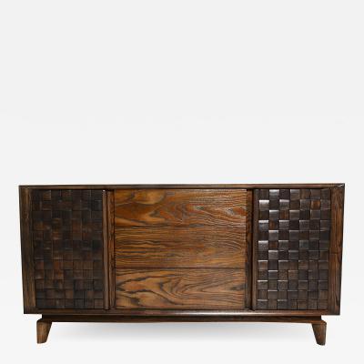 Paul L szl 1955 Classic Woven Oak Wood Credenza Buffet PAUL LASZLO for Brown Saltman