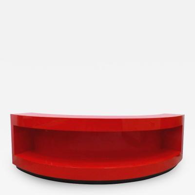 Paul L szl Art Deco Curved Red Lacquer Bookcase by Paul Laszlo