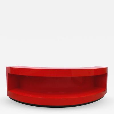 Paul L szl Custom Curved 1930s Bookcase by Paul Laszlo Lacquered in Red