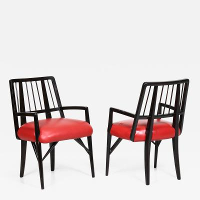 Paul L szl Set of Four Leather and Wood Chairs by Paul Laszlo