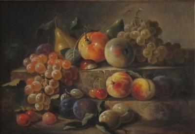 Paul LaCroix Two Tier Still Life with Fruits