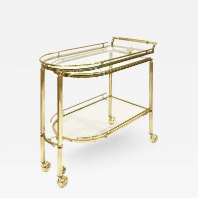 Paul M Jones Paul M Jones Expandable Rolling Brass Serving Cart 1960s