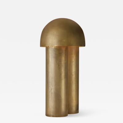 Paul Matter Monolith Brass Sculpted Table Lamp by Paul Matter