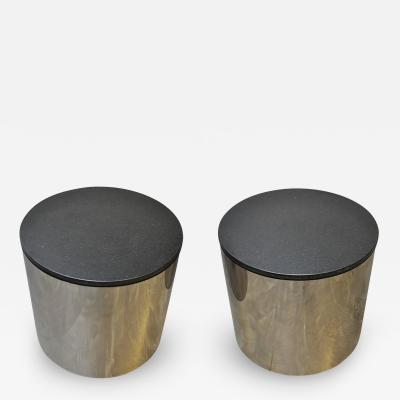 Paul Mayan Paul Mayan Stainless and Black Granite Side Tables