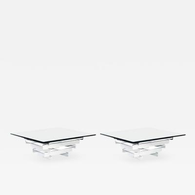 Paul Mayen Pair of Paul Mayen Minimalist Chrome and Glass Tables