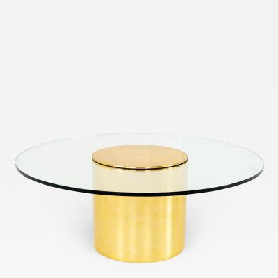 Paul Mayen for Habitat Mid Century Brass and Glass Drum Barrel Coffee Table