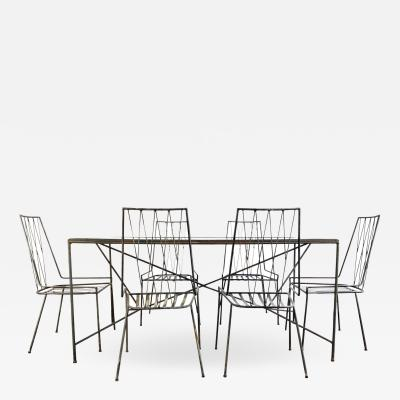 Paul McCobb 1950s Paul McCobb Pavilion Collection Wrought Iron Table and Chairs