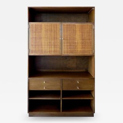 Paul McCobb 1950s Paul McCobb Walnut Bookcase with Caned Doors and Brass Hardware