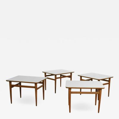 Paul McCobb 4 mid century modern birch side tables with white laminate tops tapered legs