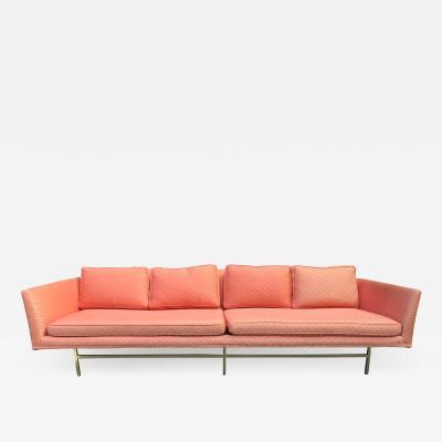 Paul McCobb Elegant Paul McCobb Style Brass Base Sofa Mid Century Modern