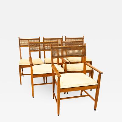 Paul McCobb For Directional Mid Century Walnut and Cane Dining Chairs Set of 6