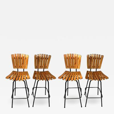 Paul McCobb Great Paul McCobb Style Mid Century Suite of Four Slatted Wood Bar Stools