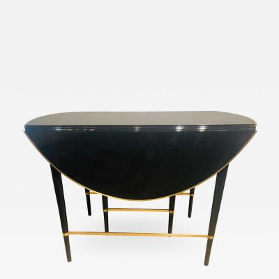 Paul McCobb Mid Century Modern Black Lacquered Paul McCobb Serving Dining Table 5 Leaves