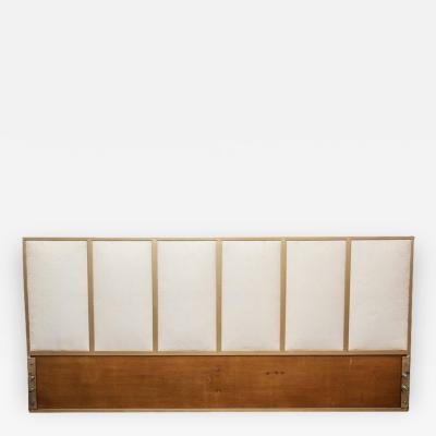 Paul McCobb Mid Century Modern Gold Tone Metal Wood Upholstered King Headboard