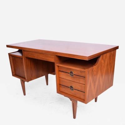 Paul McCobb Mid Century Modern Receiving Desk in Walnut and Cane Back