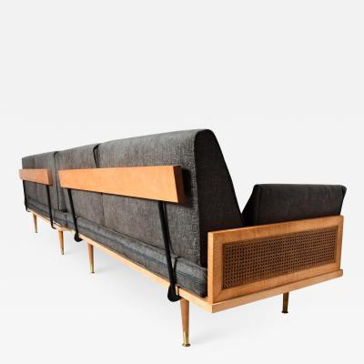 Paul McCobb Mid Century Modern Wood Cane Daybed Pair of Sofa Set
