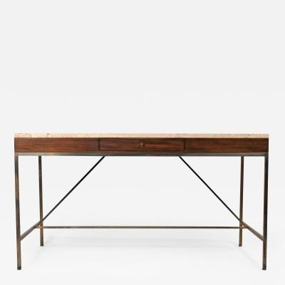 Paul McCobb Minimalist Paul McCobb Brass and Mahogany Writing Desk for The Irwin Collection