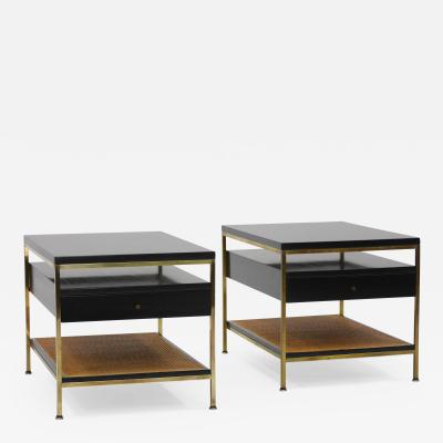 Paul McCobb Pair of Brass and Cane Irwin Collection End Tables by Paul McCobb