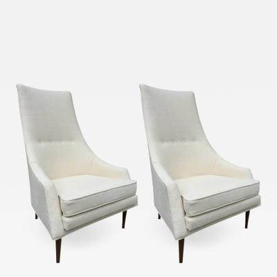 Paul McCobb Pair of Paul McCobb High Back Club Chairs or Slipper Chairs