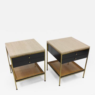 Paul McCobb Pair of Paul McCobb Irwin Collection Brass Nightstands with Travertine Tops