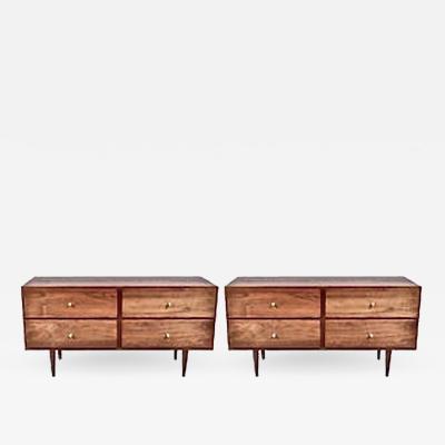 Paul McCobb Pair of Paul McCobb Lower Black Walnut Four Drawer Dressers Nightstands 1960s