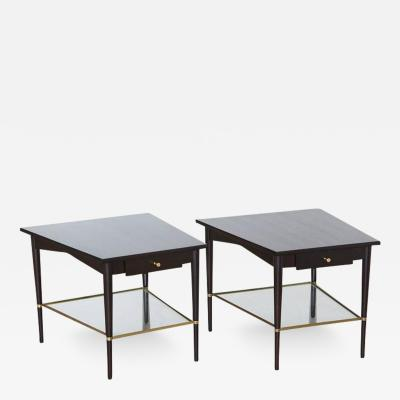 Paul McCobb Pair of Paul McCobb Trapezoidal End Tables with Brass Connoisseur Collection
