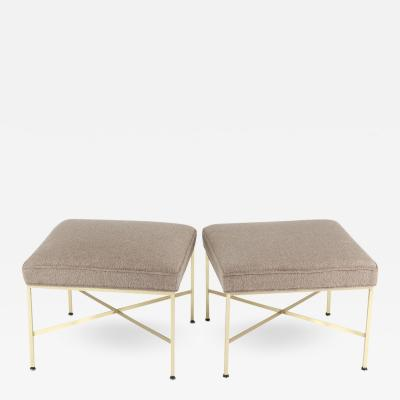 Paul McCobb Pair of Paul McCobb X Base Brass Stools with Luxe Upholstery