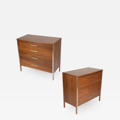 Paul McCobb Pair of Paul McCobb for Calvin dressers in walnut and aluminum circa 1960s