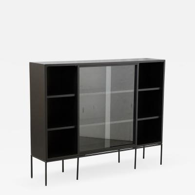 Paul McCobb Paul McCobb Bookcase in new Black Finish with Sliding Glass Doors on Iron Base