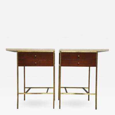 Paul McCobb Paul McCobb Brass Base Nightstands with Travertine Tops
