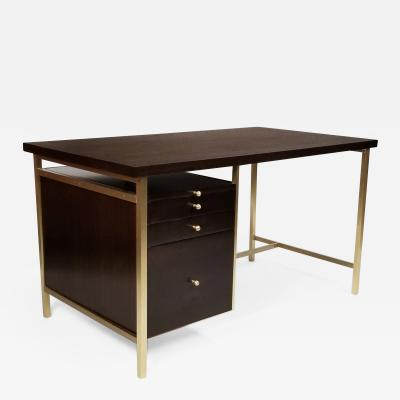 Paul McCobb Paul McCobb Brass Mahogany Desk for the Connoisseur Collection H Sacks Sons