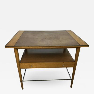 Paul McCobb Paul McCobb Leather Topped Lamp Table with Glass Shelf