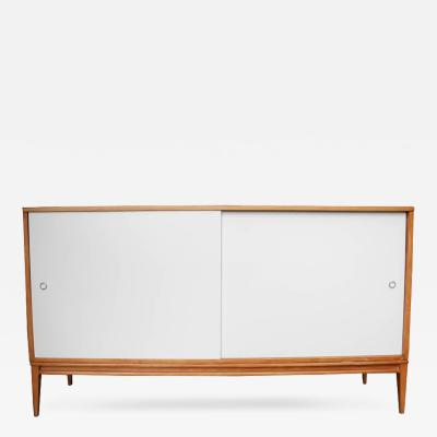 Paul McCobb Paul McCobb Modern Credenza Sideboard in Maple with off White Sliding Doors