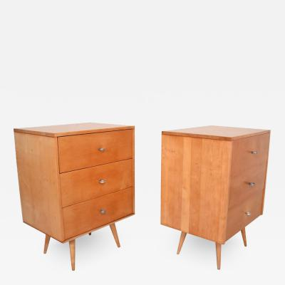 Paul McCobb Paul McCobb Pair of Dressers Lacquered Maple Silver Pulls Americana 1950s