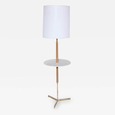 Paul McCobb Paul McCobb Style Bleached Mahogany Micarta Brass Side Table Floor Lamp