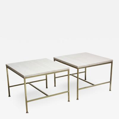 Paul McCobb Paul McCobb Travertine and Brass Occasional Tables