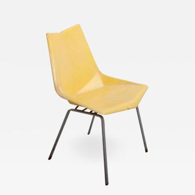 Paul McCobb Paul McCobb Yellow Origami Side Chair on Rare Solid Base USA 1950s