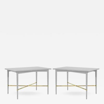Paul McCobb Paul McCobb for Directional Brass Stretcher End Tables