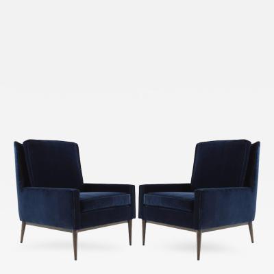 Paul McCobb Paul McCobb for Directional Lounge Chairs in Blue Velvet Model 1312