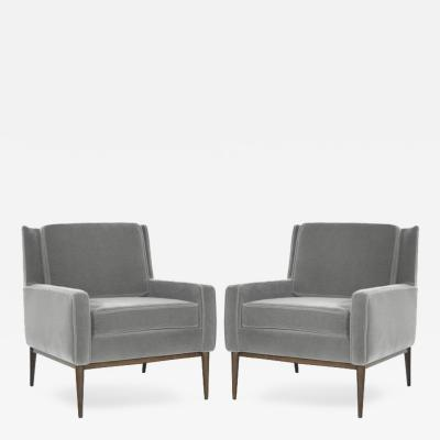 Paul McCobb Paul McCobb for Directional Lounge Chairs in Grey Mohair Model 1312