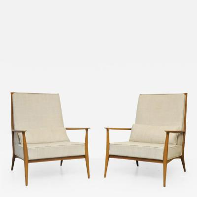 Paul McCobb Paul McCobb for Directional Walnut Frame Lounge Chairs