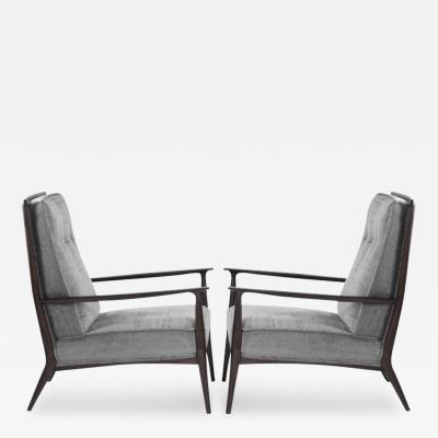 Paul McCobb Paul McCobb for Directional Walnut Frame Lounge Chairs in Silver Mohair