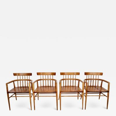 Paul McCobb Set Four Paul McCobb Planner Group Maple Captains Chairs Model 1532