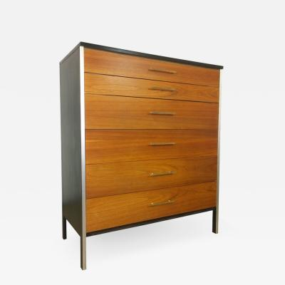 Paul McCobb Signed Mid Century Modern Refurbished Walnut Brass Chest of Drawers