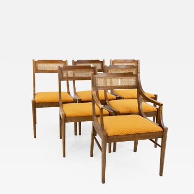 Paul McCobb Style Walnut and Cane Dining Chairs Set of 6