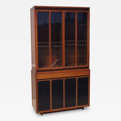 Paul McCobb Tall Cabinet with Glass Doors Leather Panels by Paul McCobb for H Sacks
