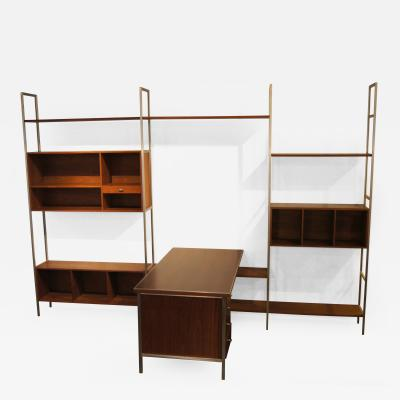 Paul McCobb Walnut Modular Wall Shelving System with Desk by Paul McCobb for H Sacks