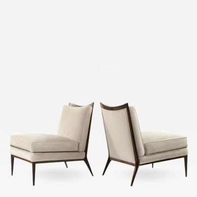 Paul McCobb Wanut Frame Slipper Chairs by Paul McCobb for Directional