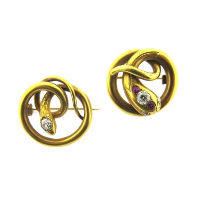 Paul Robin Paul Robin Diamond and Ruby Snake Pair of Pins